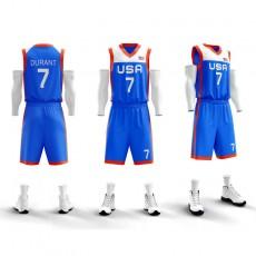 【空白板美国队球衣】3806美国队(空白版)可定制LOGO队标,号码印字